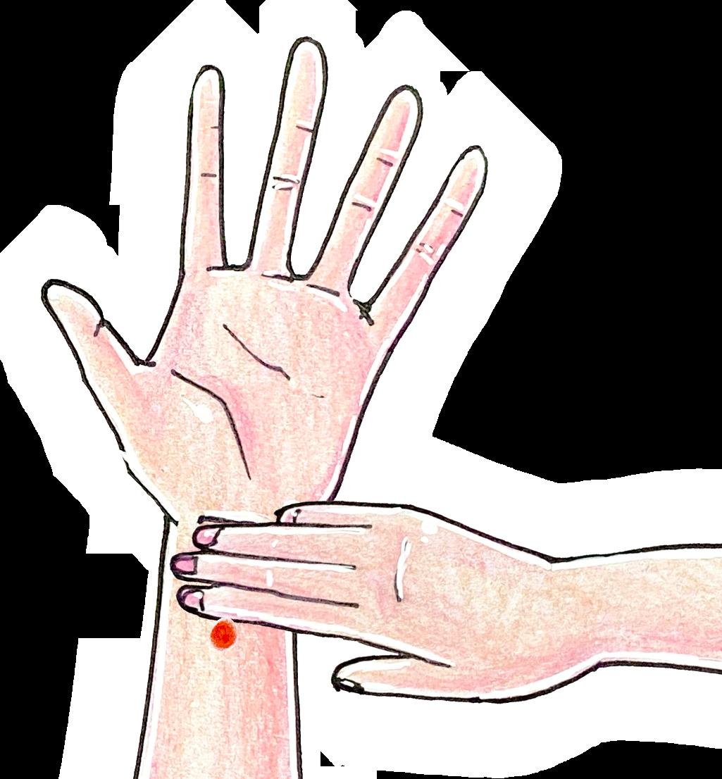 季節の変わり目の体調不良対策:ツボ(内関)を押す
